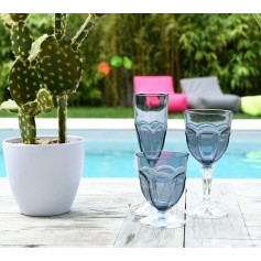 Set de 6 verres HAPPY gris bleu