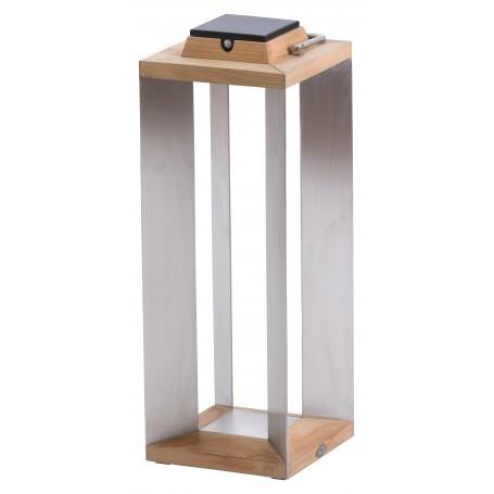 Lanterne solaire Teckinox en teck et inox ht 65cm Les Jardins