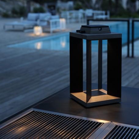 Lanterne solaire Teckalu en teck et alu noir  ht 4,5cm Les Jardins