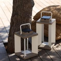Teakinox Solar Laterne aus Teak und weisses Aluminium 36,5cm Les Jardins
