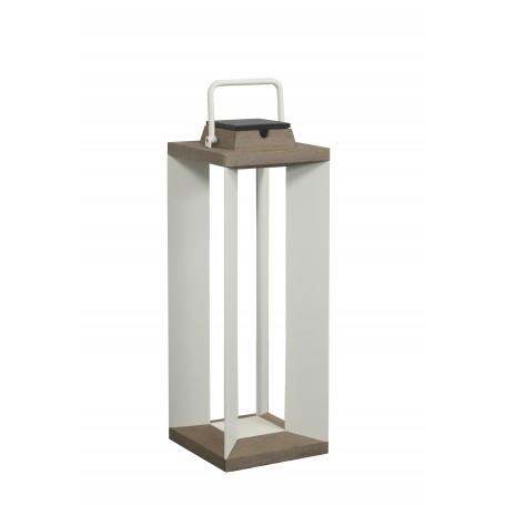Lanterne solaire Teckalu en teck et alu blanc ht 65cm Les Jardins