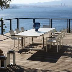 Table extensible BASTINGAGE en aluminium blanc - inserts Duratek - plateau HPL