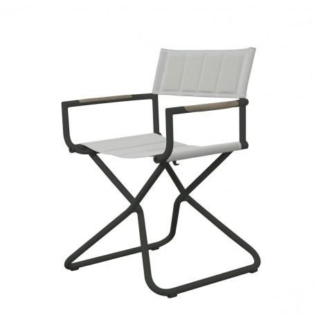 Chaise BASTINGAGE en aluminium gris - accoudoirs Duratek, toile Ateja