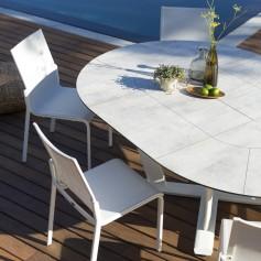 Table ronde extensible HEGOA en aluminium - plateau HPL