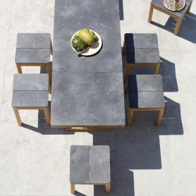 TEKURA ausziehbarer Tisch mit Teakholz-Schmetterlingsverlängerung - Schiefer-HPL-Platte