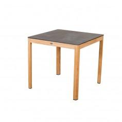 Table bistro TEKURA 80x80cm en teck - plateau HPL ardoise