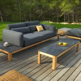 TEKURA Sofa aus Teakholz - HPL Palteforme - Sunbrella Graphito Sitz