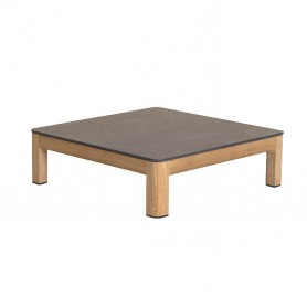Table basse 85x85cm TEKURA en teck - plateau en HPL ardoise