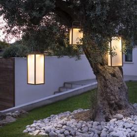 Traditionelle Solar Lampe aus Teak ht 65cm Les Jardins TECK233