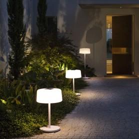 Lampadaire solaire Bump Pied alu 3 hauteurs blanc Les Jardins TINK112