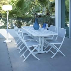 Table balcon  extensible AMAKA 4/6 places 145-185cm plateau latté